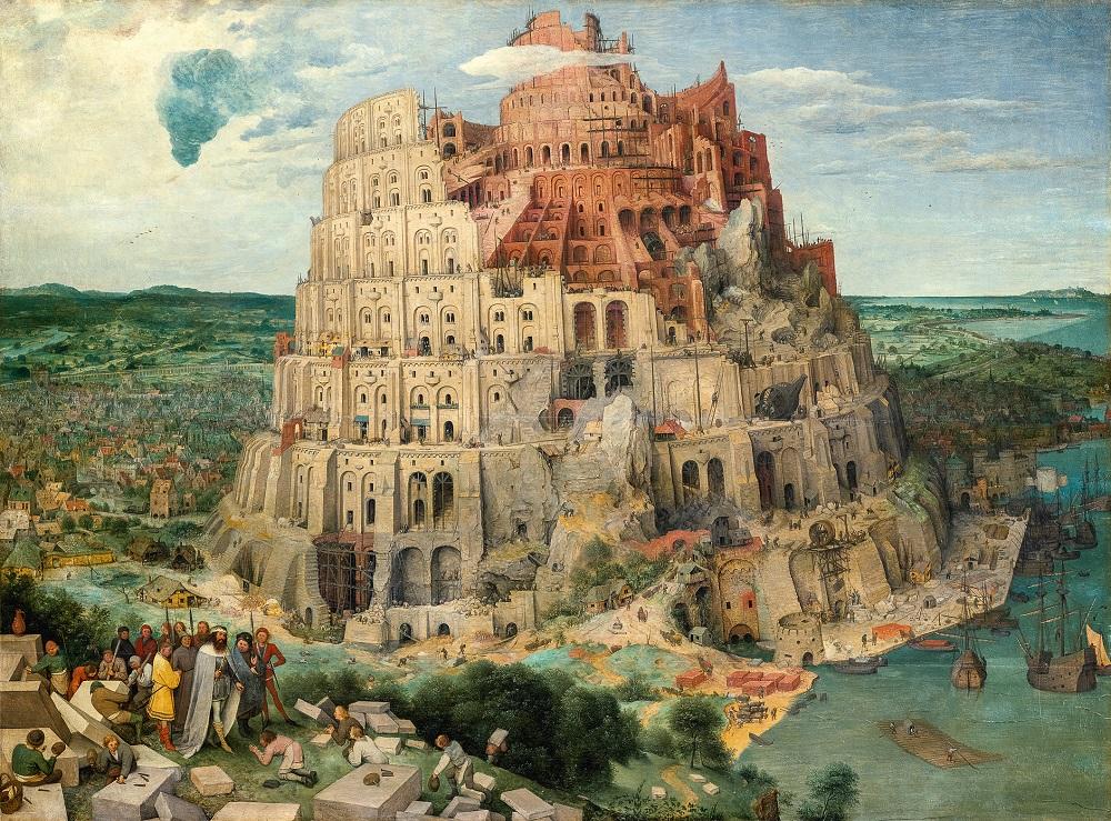 Pieter Bruegel d. Ä. (um 1525/30 vermutlich in Breugel oder Antwerpen ‒ 1569 Brüssel) Der Turmbau zu Babel 1563, Öl auf Holz, 114 × 155 cm Kunsthistorisches Museum Wien, Gemäldegalerie © KHM-Museumsverband