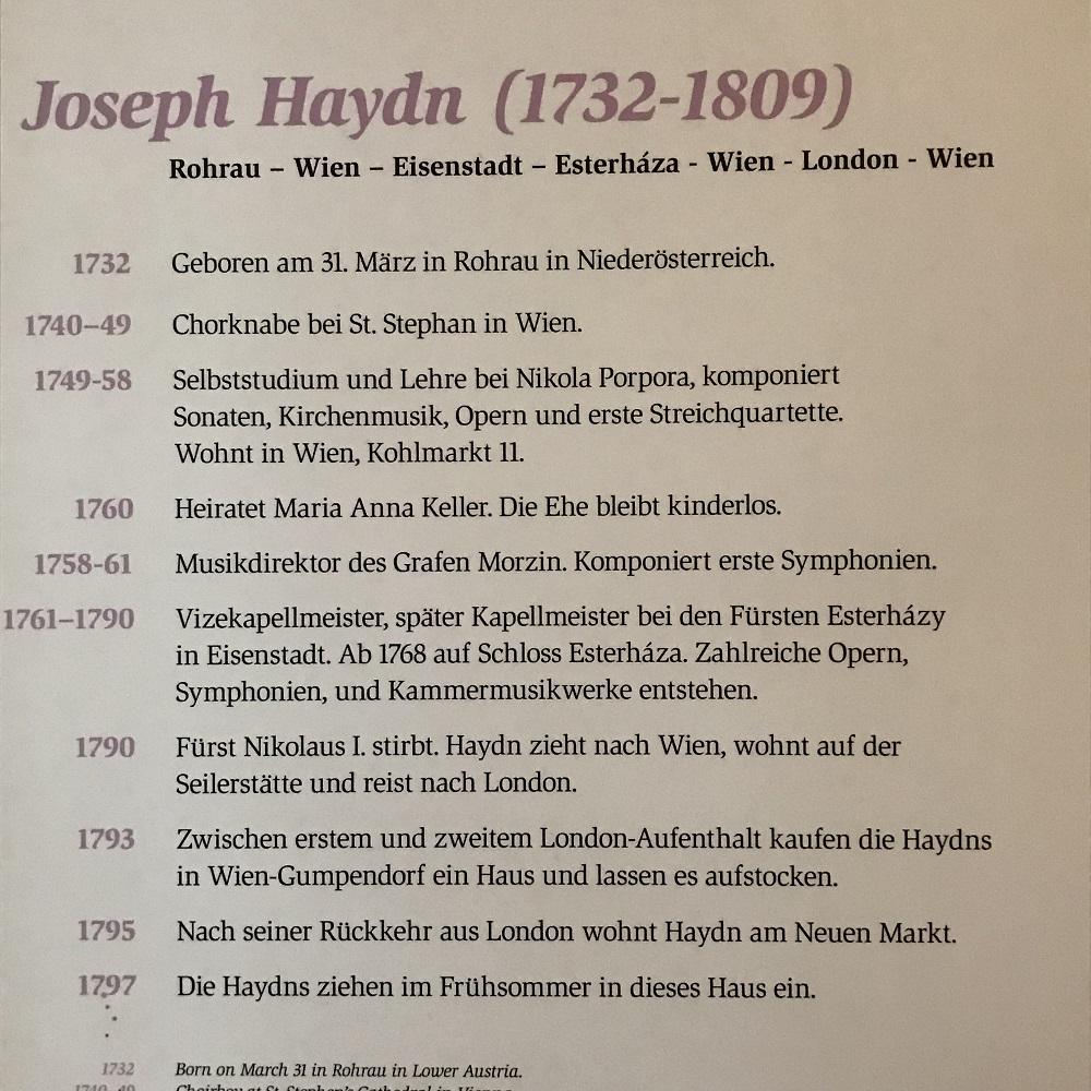 Lebenslauf Joseph Haydn (c) Wien Museum