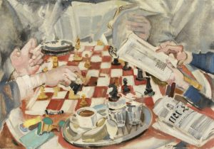 MAX OPPENHEIMER, Die Schachpartie, um 1925/30 © Oesterreichische Nationalbank, Leihgabe im Leopold Museum Foto: Sammlung Oesterreichische Nationalbank