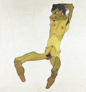 EGON SCHIELE, Sitzender Männerakt (Selbstbildnis), 1910 © Leopold Museum, Wien Foto: Leopold Museum, Wien/ Manfred Thumberger