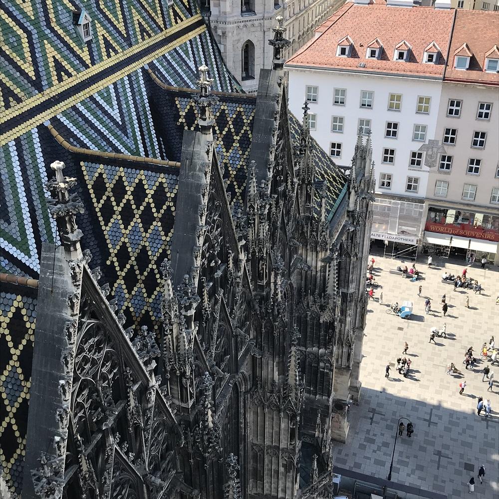 Blick vom Nordturm auf den Stephansplatz